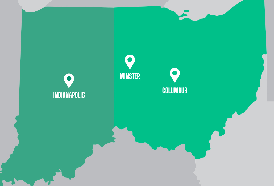 GMAE locations in Columbus, Minster, and Indianapolis